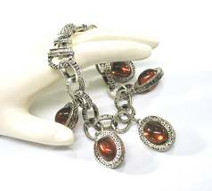 Charm Bracelet, Glass Amber Cabochons, Embossed Silver, Magnetic Foldove... - $32.00