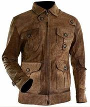 Mens Expendables 2 Jason Statham Lee Christmas Distressed Brown Leather Jacket image 1