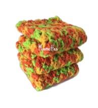 Handmade Kitchen Cotton Dish Cloths Orange Green Yellow Crochet Set of 3 - $18.75