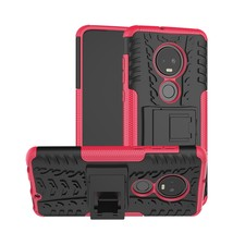Tire Texture TPU+PC Shockproof Case for Motorola G7, with Holder (Pink) - $4.77