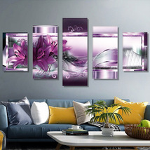DIY Diamond Painting Purple Flowers 5D Embroidery Diamond Painting Mosai... - $29.90