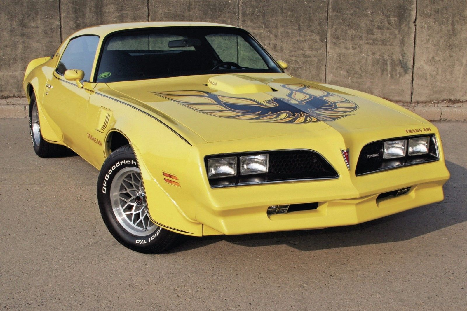 Primary image for 1977 Pontiac Trans Am side yellow fro, 24 x 36 Inch Poster, formula, 6.6 engine