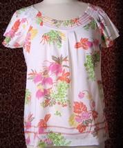 TOMMY HILFIGER white floral cap sleeve cotton tunic blouse S/P (T48-02C9G)* - $7.90