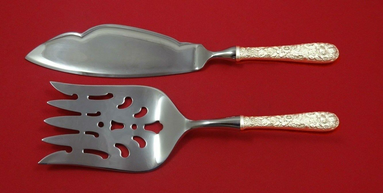 Repousse by Kirk Sterling Silver Fish Serving Set 2 Piece Custom Made HHWS - $149.00
