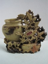 Antique figure statue in soap stone flowers and a pot and a monkey - $52.25