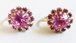 VTG Gold  tone Pink Rhinestone round halo screw clip Earrings - $19.80