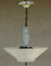 Vintage Art Deco Hanging Ceiling 3 Light Fixture Frosted Glass Working O... - $230.41