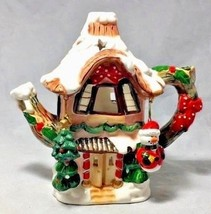 Christmas colorful whimsical tea house candle porcelain hanging snowmen ... - $6.86