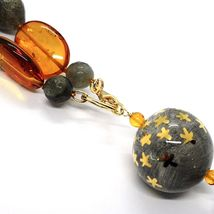 18K YELLOW GOLD LONG NECKLACE AMBER LABRADORITE QUARTZ POTTERY HAND PAINTED STAR image 5