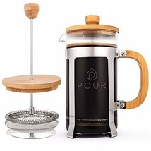 French Press Coffee Maker by Pour, Thick Borosilicate Glass, Bamboo Lid,... - $24.64