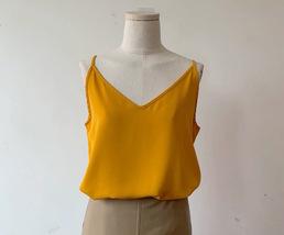 Women V Neck Sleeveless Strap Chiffon Top Camisole Summer Solid Chiffon Tank Top image 7