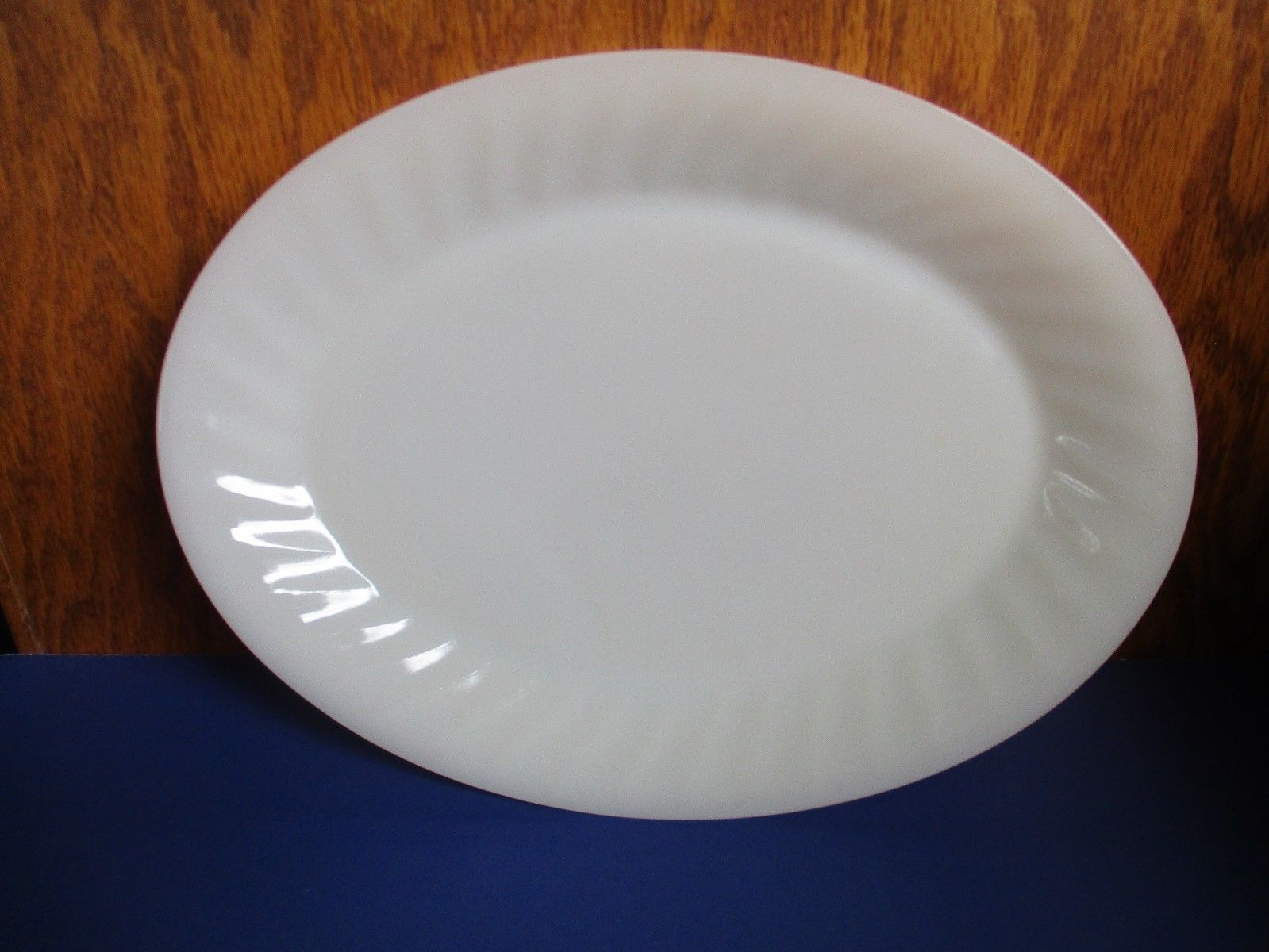 "Fire King Oval ivory Swirl Platter 12"" - $24.75"