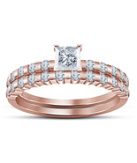 10k Rose Gold Plated 925 Silver Princess Cut White CZ Bridal Engagement ... - $71.99