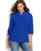 Michael Kors Plus Blue Thermal Waffle Cowl Neck Sweater ( Sz. 0X ) Nwt $110.00 - $50.49