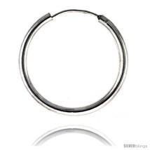 Sterling Silver Endless Hoop Earrings, thick 3 mm tube 1 3/8 in  - $32.87