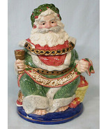 Fitz & Floyd Christmas Carol Santa Biscuit Jar, With Box - $60.28