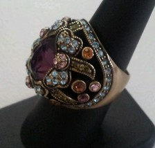 HEIDI DAUS Signed Vintage Swarovski Multicolored Crystal Ring Size 7.5 - $59.39