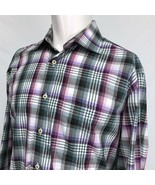 Peter Millar Spread Collar Multicolor Plaid Casual Shirt Large Purple Blue - $19.71
