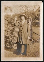 Antique 1917 Photograph Curious Woman in Hat Coat Sepia Snapshot Photo - $10.99