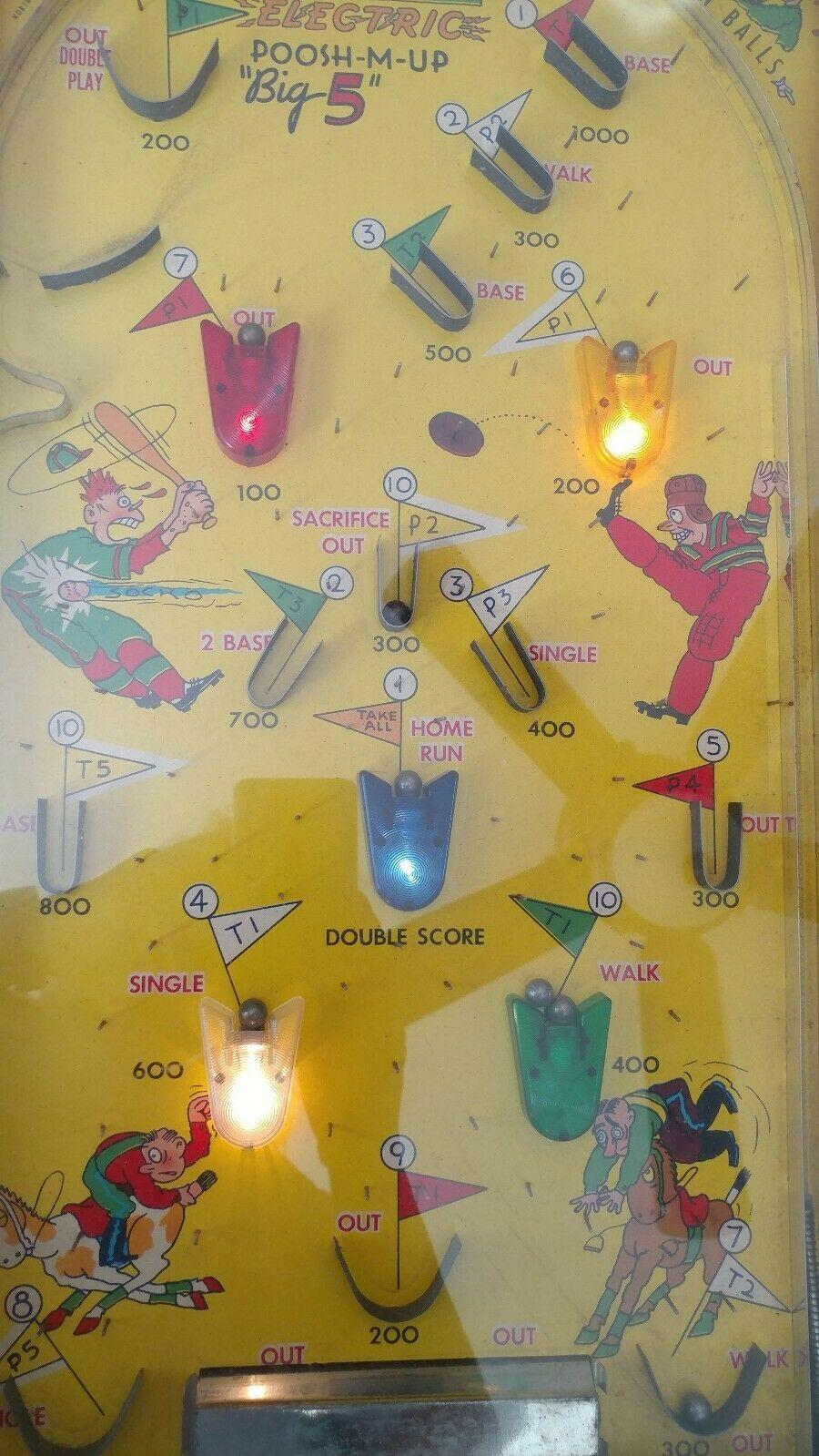 Vintage Toy Board Game Pinball Poosh-M-Up Big 5 Original Box Instructions WORKS!