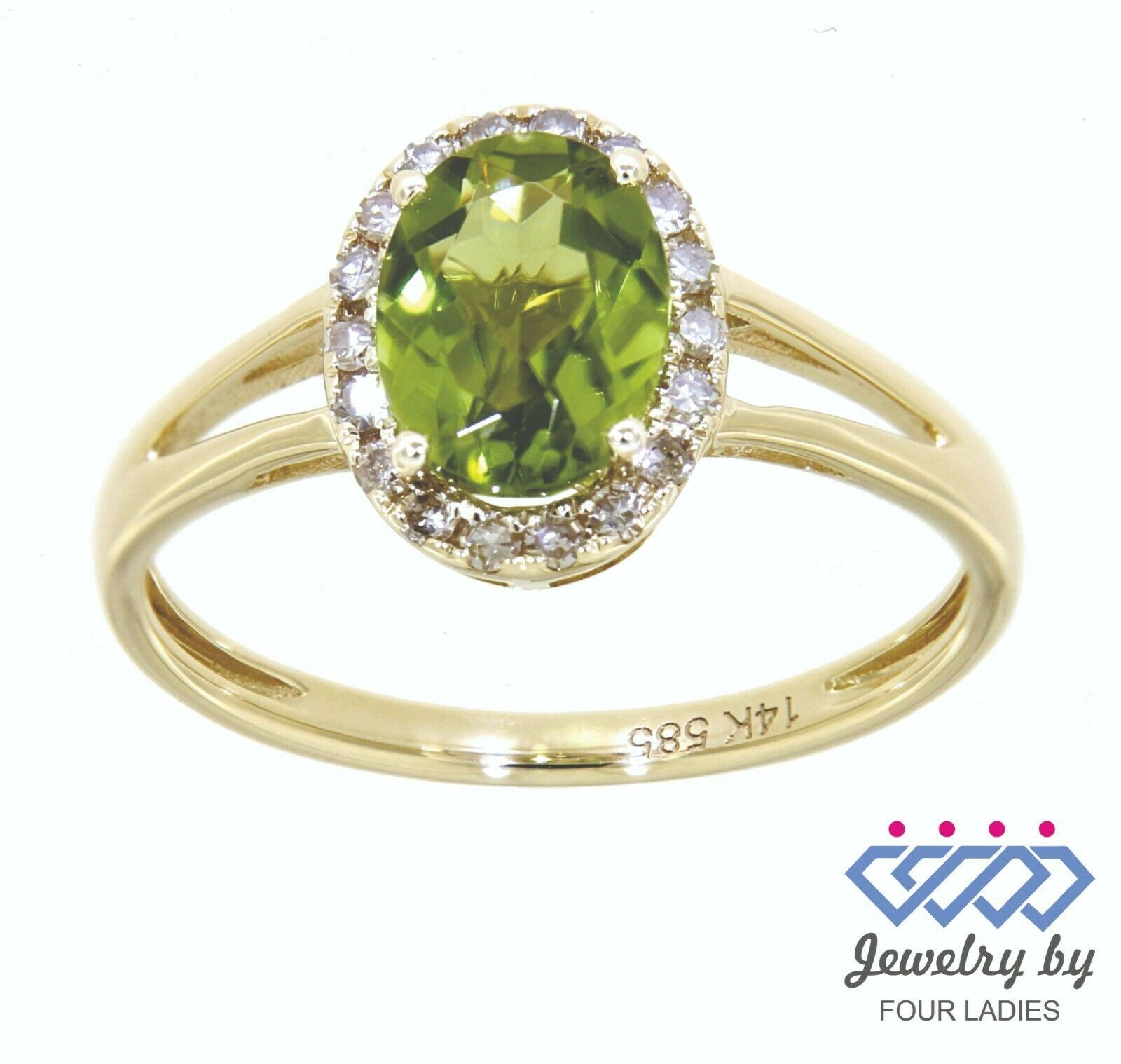Primary image for Peridot Gemstone 14K Yellow Gold 1.32CT Real Natural Halo Diamond Ring
