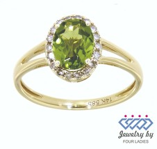 Peridot Gemstone 14K Yellow Gold 1.32CT Real Natural Halo Diamond Ring  - $213.04