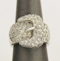 CHUNKY STERLING SILVER BUCKLE RING WITH PAVE STONES - SIZE 6 - $25.00
