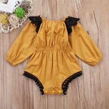 Xmas Clothes 2017 Baby Girl Bodysuit Long Sleeve Lace Solid Jumpsuit Out... - $9.39