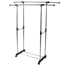 Adjustable Portable Clothes Rack Rolling Garment Rack Dry Hanger Holder ... - $19.70
