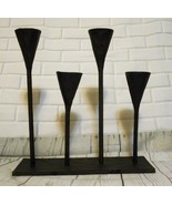 Pottery Barn Black Wrought Cast Iron Attached Candle Holders Candlesticks - $34.08