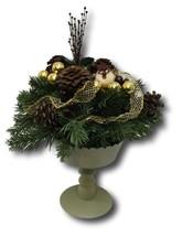 Christmas Centerpiece Pedestal Bowl Base Bird Gold Ribbons Pine Cone Ber... - $18.80