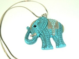 Elephant Necklace pendant Plastic and Rhinestone blue tribal boho vtg st... - $19.79