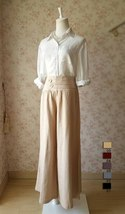 Khaki High Waisted Plus Size Linen Wide Leg Pants Women Crop Palazzo Pants NWT image 1