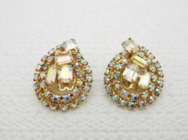 VTG Teardrop Diamante Aurora Borealis Cluster Rhinestone Gold Tone Clip ... - $14.85