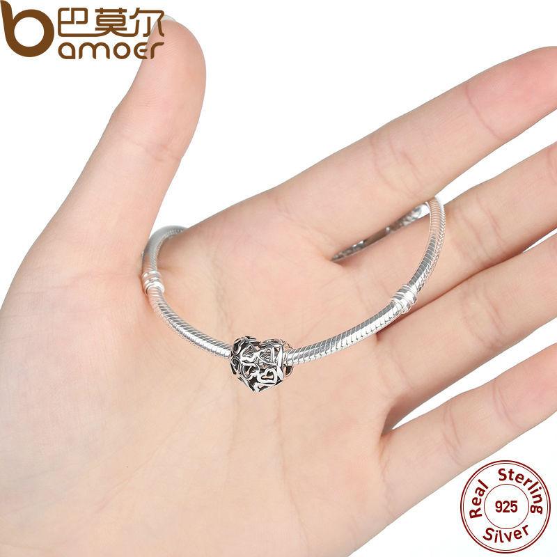 925 Sterling Silver Skeleton Heart Charms fit Bracelets & Necklace