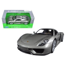 Porsche 918 Spyder Silver Closed Roof 1/24 Diecast Model Car by Welly 24... - $29.43