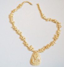 "Vintage  Carved Camel Celluloid  Lucite   Necklace 26"" Ivory - $10.88"