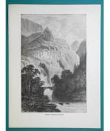 WALES Pass & Bridge of Aberglaslyn,  - 1877 Wood Engraving Illustration - $8.09