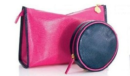 2pc Estee Lauder Lizard Fuchsia Pink Golden Shell Zip Cosmetic Bag & Rou... - $8.90