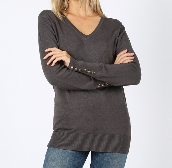 Gray V Neck Sweater, Long Sleeve Gray Sweater, Gray Sweater, Colbert Clothing