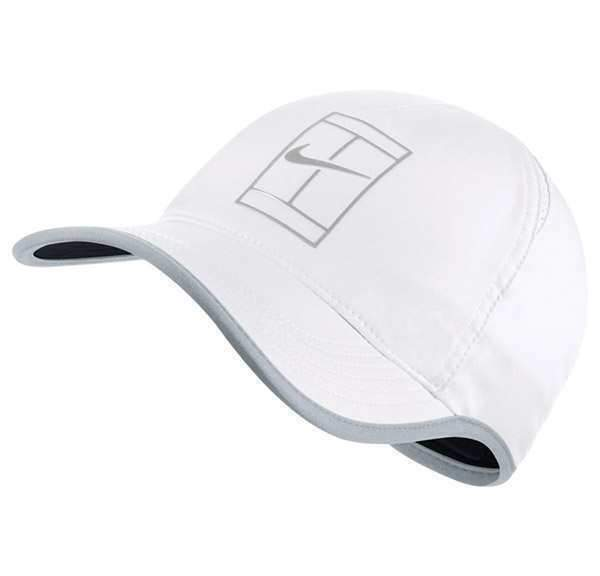 NEW! Nike Featherlite Aerobill Court Tennis Hat-White/Grey 864105-101