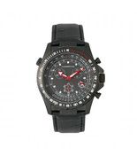 Morphic M36 Series Leather-Band Chronograph Watch - Black - $490.00