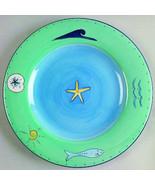 Brushes K.I.C. Hand Painted, Large Dinner Plate Blue Green Ocean Seaside... - $19.99