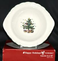 "Nikko Happy Holidays * VEGETABLE BOWL * 10"", Christmas Tree, Lightly Used - $10.88"