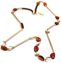"""ROSE NECKLACE AMBER PINK ROUNDED DROPS OF MURANO GLASS TUBE ALTERNATE 40"""" LONG image 2"""
