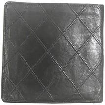 80's vintage CHANEL black calfskin square stitched wallet, bill, card ca... - $168.00