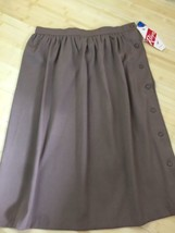 Vintage Midi Skirt Robyn 16 Button Down Brown Beige NWT Pleated USA - $28.45