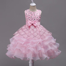 Pink  Flower Girl Dress,Off Shoulder Party Dress, Little Girls Pageant G... - $37.22