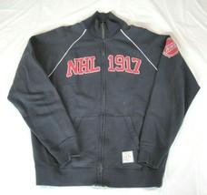 Banner 47 Mens Large Black Full Zip Red NHL 1917 Hockey Sweatshirt Jacket - $24.74