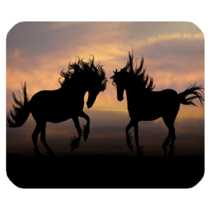 Mouse Pads Horse Twin Black Horses In Night Design Animation Fantasy Mousepads - $6.00
